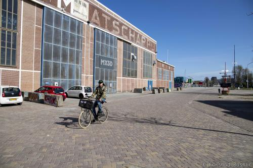 Cyclist at NDSM Shipyard
