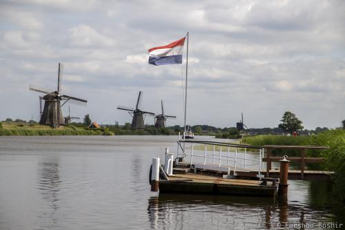 Dutch flag waving at Kinderdijk